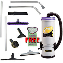 Super CoachVac HEPA Backpack Vacuum Gold Package