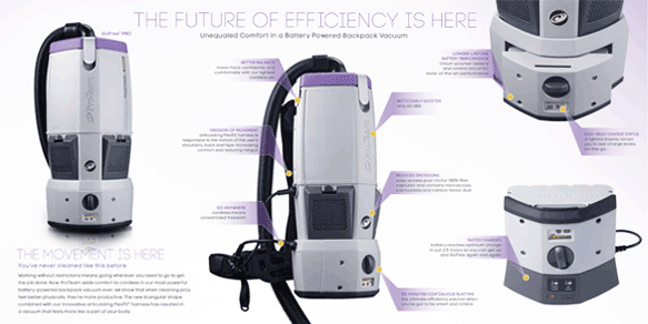 ProTeam GoFree Battery Operated Backpack Vacuum Cleaner