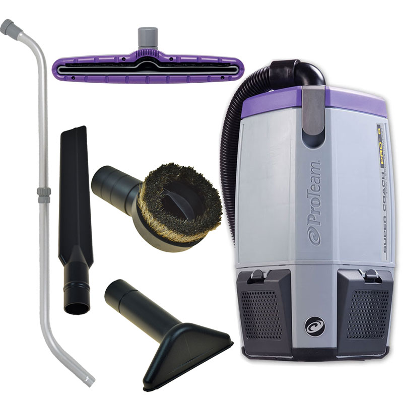 Super Coach Pro 6 Back Pack Vacuum 6 Quart w/ Xover Tool Kit D
