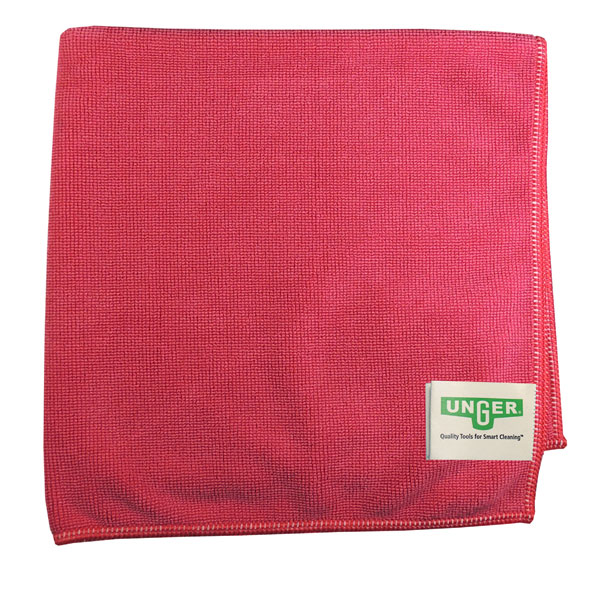 Unger [MF40R] SmartColor Heavy-Duty Microfiber MicroWipes 4000 - Red - 10 Towels