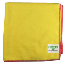 Unger [MF40Y] SmartColor Heavy-Duty Microfiber MicroWipes 4000 - Yellow w/ Red Stripe - 10 Towels