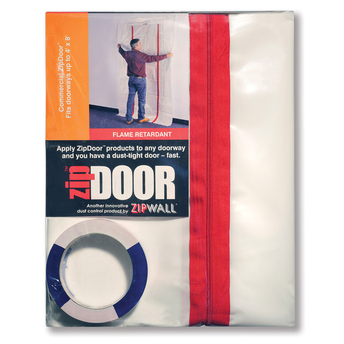 ZipWall ZDC ZipDoor Kit Flame Retardant For Commercial Doorways - 4' x 8'