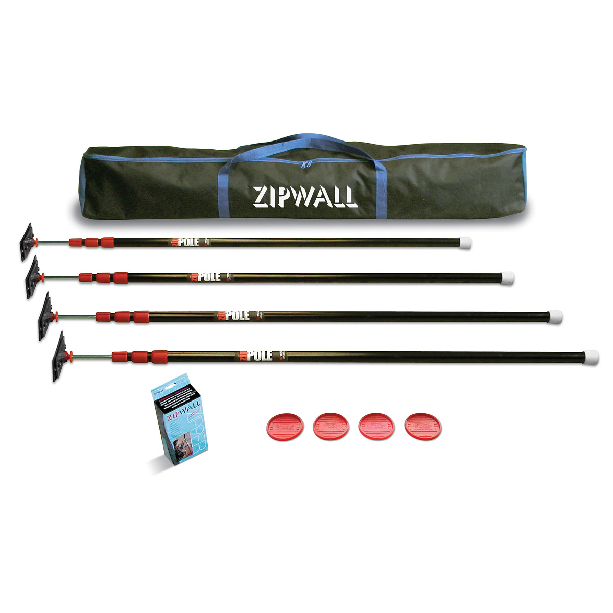 ZipWall ZP4 ZipPole Spring Loaded Pole Dust Barrier Temporary Wall System - 4-Pack