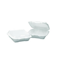 Snap-it Hinged Carryout Containers, Foam, 1-Compartment, 9-1/4x9-1/4x3, White BWK0100