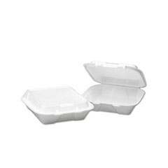 Snap-it Foam Hinged Lid Containers, 3-Comp, 8 x 8 x 3, White BWK0108