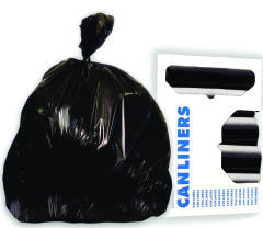 High-Density Can Liners, 38 x 58, 60-Gal, 17 Micron Equivalent, Black, 25/Roll BWK385817BLK