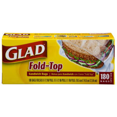 Fold Top Sandwich Bags, 6-1/2 x 5-1/2, Clear, 180/Box CLO60771