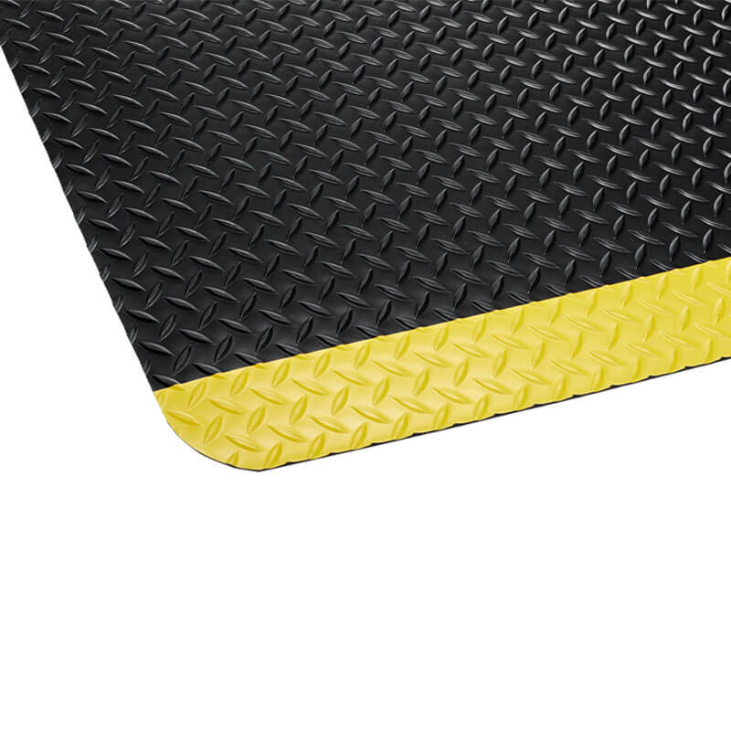 Industrial Deck Plate Anti-Fatigue Mat, Black/Yellow - 36