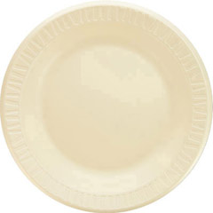 Foam Plastic Plates, 10 1/4 Inches, Honey, Round, 125/Pack DCC10PHQ
