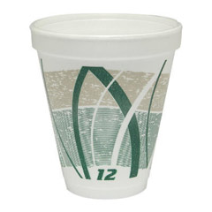 Impulse Hot/Cold Foam Drinking Cups, 12 oz., Printed, Green/Gray, 25/Bag DCC12J16E