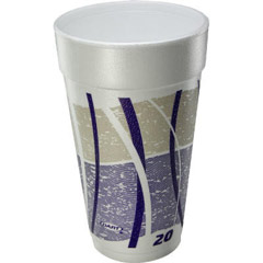 Impulse Hot/Cold Foam Drinking Cups, 20 oz., Printed, Purple/Gray, 25/Bag DCC20J16E