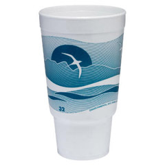 Horizon Foam Cup, Hot/Cold, 32 oz., Printed, Teal/White, 16/Bag DCC32AJ20H
