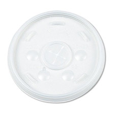Plastic Lids, for 32-oz. Hot/Cold Foam Cups, Straw Slotted Lid, White DCC32SL