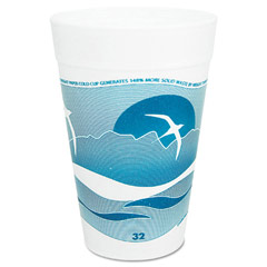 Horizon Foam Cup, Hot/Cold, 32 oz., Printed, Aqua/White, 25/Bag DCC32TJ32H