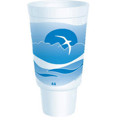 Horizon Flush Fill Foam Cup, Hot/Cold, 44 oz., Ocean Blue/White, 15/Bag DCC44AJ32H