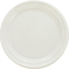 Plastic Plates, 7 Inches, White, Round, 125/Pack DCC7PWF