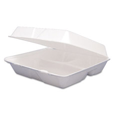 Hinged Food Containers, Foam, 3-Comp, 8-3/8 x 7-7/8 x 3-1/4 DCC85HT3