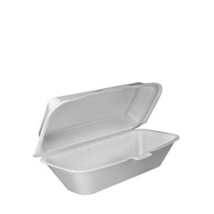 Foam Hoagie Container with Removable Lid, 9-4/5x5-3/10x3-3/10, White, 125/Bag DCC99HT1