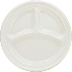 Plastic Plates, 9 Inches, White, 3 Compartments, Round, 125/Pack DCC9CPWF