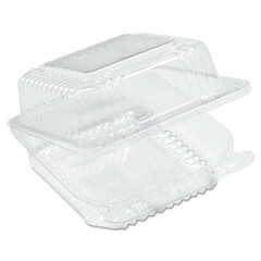Staylock Clear Hinged Container, Square, Deep Base, 6-1/10 x 6-1/2 x 3, 125/Pack DCCC25UT1
