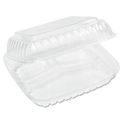 Showtime Clear Hinged Container, Plastic, 3-Compartment, 9x8x4, 125/Bag DCCC90HT3