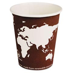 World Art Renewable Resource Compostable Hot Drink Cups, 8 oz, Plum ECPEP-BHC8-WA