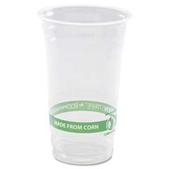GreenStripe PLA Cold Cups, Clear - 24 oz. ECPEP-CC24-GS