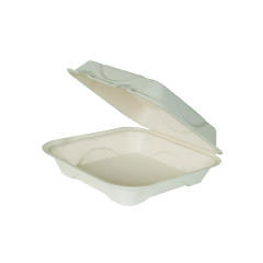 Bagasse Hinged Clamshell Containers, 9w x 9d x 3h, White ECPEP-HC91