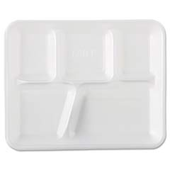 School Tray Foam Serving Trays, 10 2/5 x 8 2/5 x 1 1/4, White, Five-Compartment GNP10500
