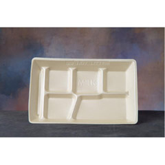 Foam School Tray, 6 Compartment, 12-1/2 x 8-1/2 x 1, Beige, 125/Bag GNP10600BE