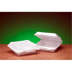 Foam Hinged Carryout Container, 1-Compartment, 9-1/4x9-1/4x3, White, 100/Bag GNP20010