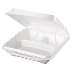 Foam Hinged Carryout Container, 3-Compartment, 9-1/4x9-1/4x3, White, 100/Bag GNP20310