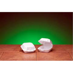 Foam Hinged Container, Sandwich, 5-1/8x5-1/3x2-3/4, White, 125/Bag GNP22400