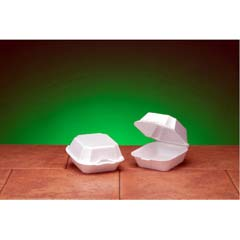 Foam Sandwich Hinged Container, Large, 1-Comp, 5-5/8x5-3/4x3-1/4, White, 125/Bag GNP22500