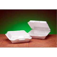 Foam Hinged Container, 1-Compartment, Jumbo, 10-1/3x9-1/3x3, White, 100/Bag GNP25000