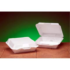 Foam Hinged Container, 3-Compartment, Jumbo, 10-1/4x9-1/4x3-1/4, White, 100/Bag GNP25300