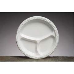 Aristocrat Plastic Plates, 10 1/4 Inches, White, Round, 3 Compartments, 125/Pack GNP71300
