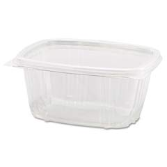 Clear Hinged Deli Container, Plastic, 8 oz, 5-3/8 x 4-1/2 x 1-1/2, 100/Bag GNPAD08