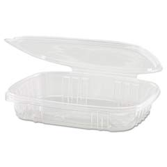 Shallow Clear Hinged Deli Container, Plastic, 16 oz, 7-1/4 x 6-2/5 x 1, 100/Bag GNPAD16S