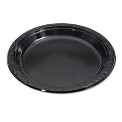 Silhouette Black Plastic Plates, 10 1/4 Inches, Round, 100/Pack GNPBLK10