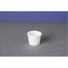 Squat Paper Portion Cup, Pleated, .5 oz, White GNPF050