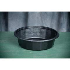 Round Microwave-Safe Containers, 24 oz, Plastic, Black, 75/Bag GNPFP024