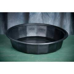 Round Microwave-Safe Containers, 48 oz, Plastic, Black, 75/Bag GNPFP048