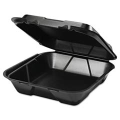 Foam Hinged Carryout Container, 1 Compartment, 9-1/4x9-1/4x3, Black, 100/Bag GNPSN200-3L