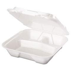 Snap-It Foam Hinged Container, 3-Compartment, 9-1/4x9-1/4x3, White, 100/Bag GNPSN203