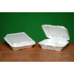 Snap-it Vented Foam Hinged Container, 3-Comp, White, 9-1/4 x 9-1/4 x 3, 100/Bag GNPSN203V