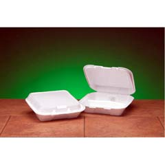 Foam Hinged Carryout Container, 3-Compartment, 8-4/9x7-5/8x2-3/8, White, 100/Bag GNPSN223
