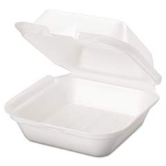 Snap It Foam Hinged Sandwich Container, Jumbo, 6-2/5x6-2/5x3, White, 125/Bag GNPSN227