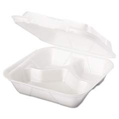 Snap-It Foam Hinged Carryout Container, Medium, White, 8-1/4x8x3, 100/Bag GNPSN240