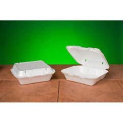 Snap-It Vented Foam Hinged Container, White, 8-1/4 x 8 x 3, 100/Bag GNPSN240V